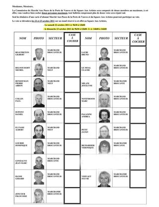 LISTE CANDIDATS Puces de Vanves election  2011